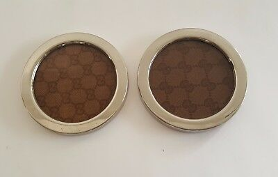 Pair of Vintage Gucci Cocktail Coasters - Silver with GG Monogram Fabric