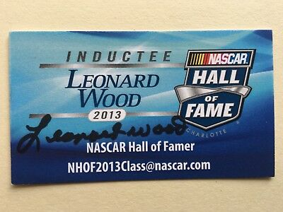 "NASCAR Leonard Wood signed Approx 4"" X 3"" photo Card"