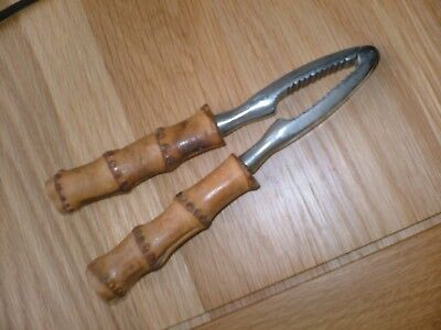 Vintage Bamboo Handle Nut Cracker Nice Patina Collectible Old
