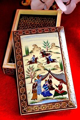 Marquetry Inlaid Khatam  Handcraft  / Paint  Hunting Scene  On  Lid Box- Signed