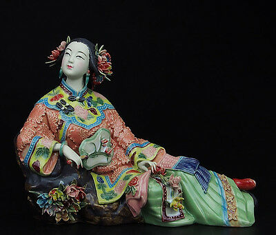 China Palace Pottery Wucai Porcelain Home Display Ladies Art Decoration Statue