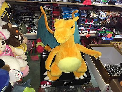 "Large Official Tomy Pokemon 10"" Charizard Soft Toy Plush New Boxed"