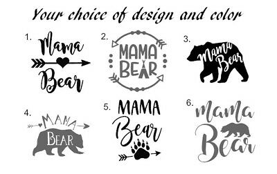 """Mama Bear Decal 3"""" Vinyl Yeti size Any color Fast Shipping Car Window"""