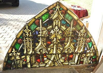 Antique Gothic Stained Glass Windows Froma Closed Church  1920's - Jrp874967