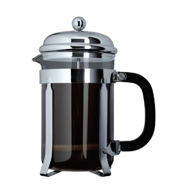 Cafe Ole by Grunwerg 3-Cup Classic Coffee Maker Glass Cafetiere, Chrome Finish,