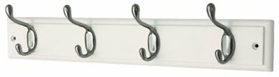 Headbourne Hr4094H 4-Heavy Duty Nickel Hooks on White Wooden Board Coat Rack