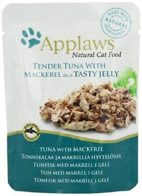 Applaws Cat Food Jelly Pouch Tuna Wholemeat with Mackerel, 70g, Pack of 16