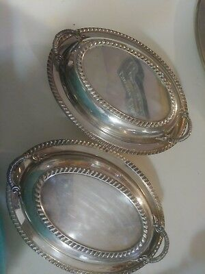 crescent silver serving dishes with lids