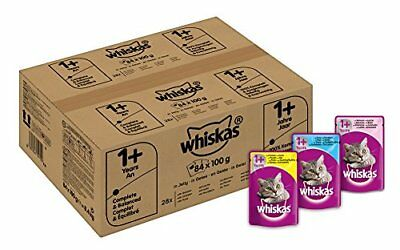 Whiskas Wet Cat Food 84 x 100 g Pouch for 1 Adult, Mixed Selection in Jelly