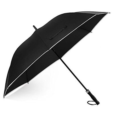 Windproof Golf Umbrella Oversize 62 inch Canopy with Safe Reflective Stripe Outd