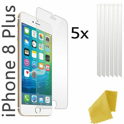 5 x Clear Plastic Screen Guard LCD Protector Film Layer - Apple Iphone 8 Plus