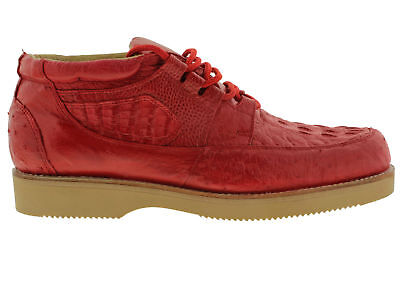 Men s New Genuine Alligator Crocodile and Ostrich Real Skin Sneaker Shoes Red