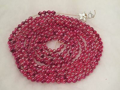 """Vtg Easter/christmas Garland--102""""--Pink--Small/double Merc Beads"""
