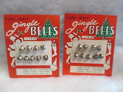 2 Vtg Christmas Tiny Silver Jingle Bells--Nos--Gifts/ornaments/corsage/crafts
