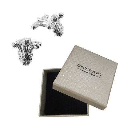 New Pair Of Silver Prince Of Wales Cufflinks & Gift Box by Onyx Art