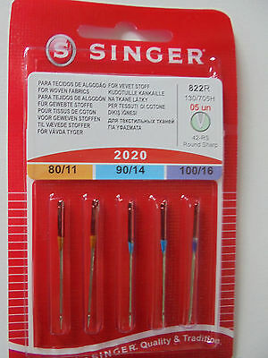 SINGER SEWING MACHINE NEEDLES 2020- MIXED PACK of 5 FOR WOVEN FABRICS  FREE P/P