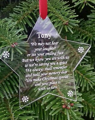 In Memory STAR Christmas Decoration PERSONALISED Memorial Acrylic Bauble