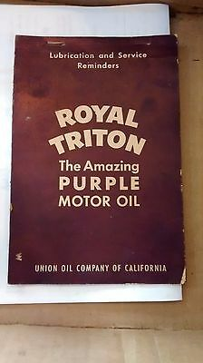 Vintage Royal Triton Motor Oil Personal Vehicle Service Schedule NOS Purple
