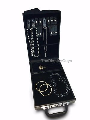 Travel Jewelry Attache Presentation Display Case W Detachable Trays
