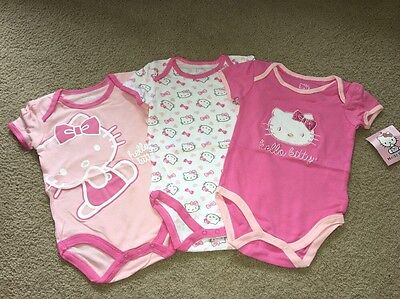 Hello Kitty Baby Girls Multi Pack Bodysuits Pink Carnation Size 18 Months NWT