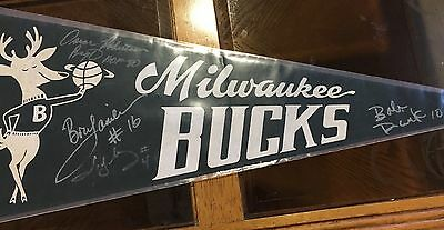 Vintage Milwaukee Buck Pennant Autos By Lanier, Dandridge, Moncrief & Oscar