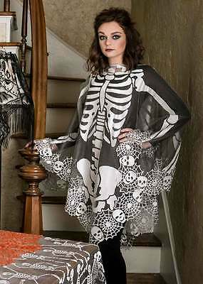 Halloween, Goth SKELETON Poncho by Heritage Lace SKP-P USA
