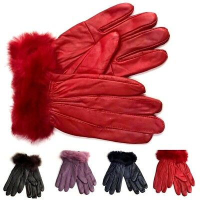 Ladies women Genuine Leather Gloves Premium Quality Soft Fur Lined Driving warm