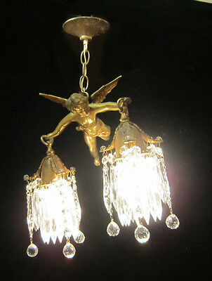 Bronze Vintage Chandelier hanging French Lamp Flying Cherub Brass Crystal light