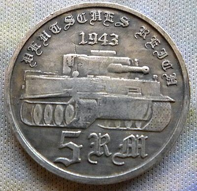 ADOLF HITLER 5 REICHSMARK 1943 TIGER TANK 24mm GERMAN COIN THIRD REICH PANZER