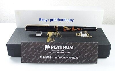New Platinum Slim Maki-e Brush Warbler In The Plum Tree Rollerball Pen Gold Trim