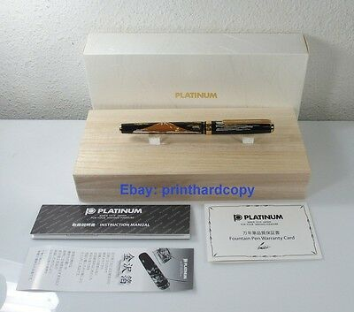 New Platinum Maki-e Slim Red Mount Fuji Fountain Pen 18k Gold Nib !