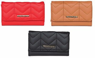 Trifold with Quilted Detail and Phone Pocket Solid Faux Leather Exclusive Wallet