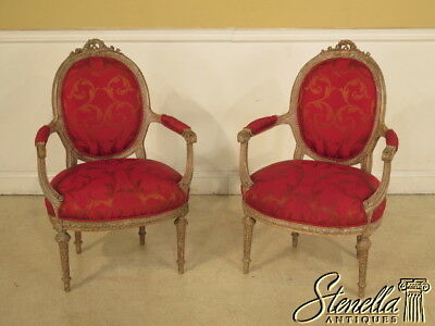 28250:  Pair Of Paint Decorated French Louis XIV Open Arm Chairs