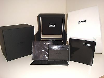 Rado Empty Black Watch Box With Instruction Book & Accessories ~ New