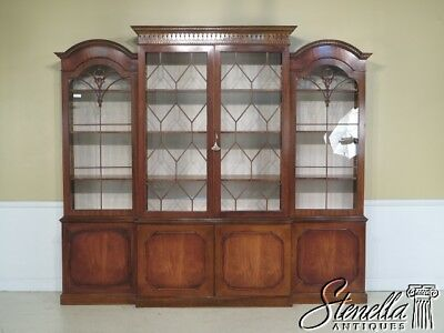 29126E English Double Dome Top Large Mahogany Breakfront Bookcase
