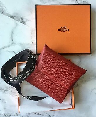 Authentic HERMES Epsom Bastia Coin Purse Feu or Business card holder, Red