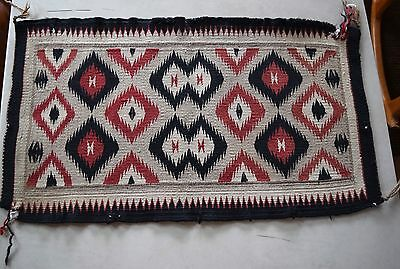 Old early vintage Navajo rug, blanket Native American small textile, weaving