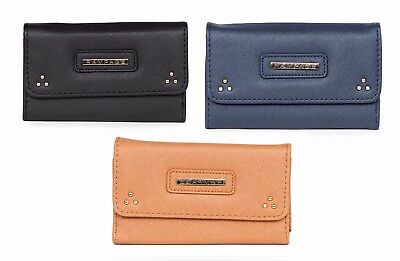 Rampage Saffiano Tri-Fold With Stud Detail Card Holder Faux Leather Wallet NWT