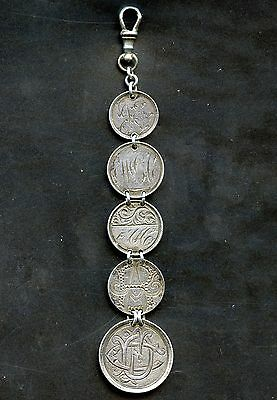 Antique 5 Silver Coin Love Token Fob Canada Victoria 25 cent 3 10 cents & 5 cent