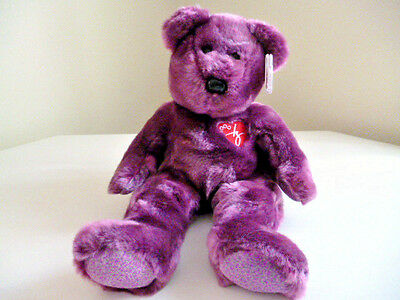 *New Condition TY Original PURPLE 'Signature' BEANIE BUDDIE*Retired Stock