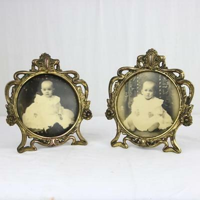 """A Pair of Victorian Brass Round Picture Frames 5"""" Art Nouveau Style c1900"""