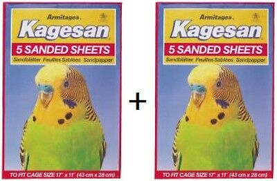 Kagesan Red Bird Cage Sand Sheets 43cm x 28cm  2 x 5pack 10 sheets