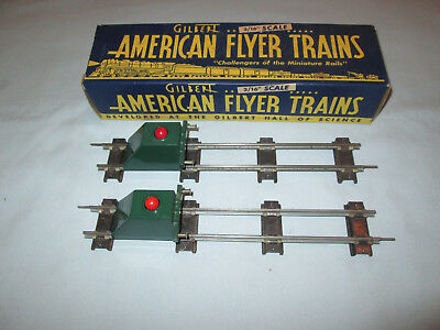 2 American Flyer #730 Illuminated Bumpers w/One Original Box and Track