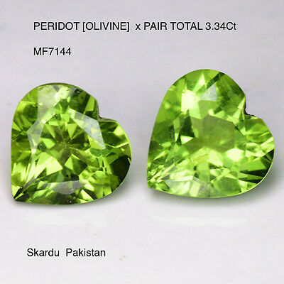 PERIDOT[OLIVINE] NATURAL MINED PAIR TOTAL 3.34Ct  MF7144