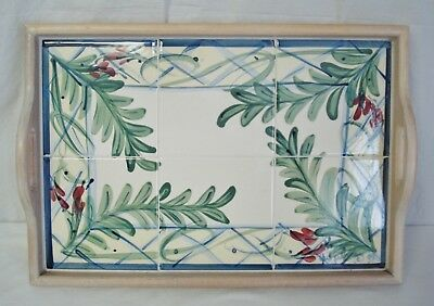 "Gail Pittman Maypop Tile Wooden Handle 19"" Serving Tray Pottery Tea Drinks"