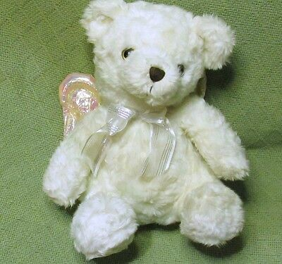 Avon 2001 PRAYING Teddy Bear White Plush Pink Wings Now I Lay Me Down To Sleep