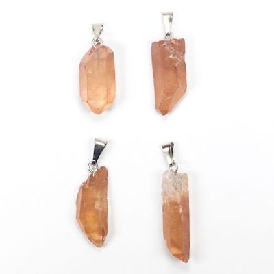QUARTZ NATURAL MINED ROUGH CRYSTALS WITH PENDANT MOUNT x 4 total 63CT  MF4597