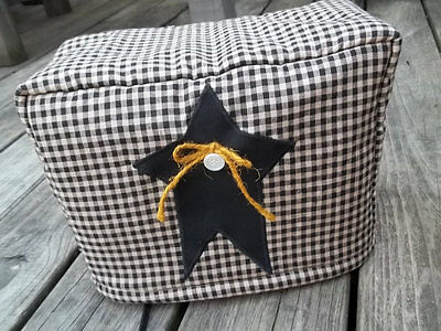 Toaster Cover Black Tan Homespun Rustic Star Americana Fabric Quilted 4 Slice