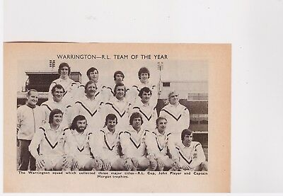 Team Pic from 1974-75 FOOTBALL Annual - WARRINGTON + action pic v FEATHERSTONE