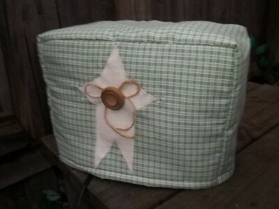 Toaster Cover Sage Green Cream Country Plaid Rustic Star Fabric Quilted Sewn